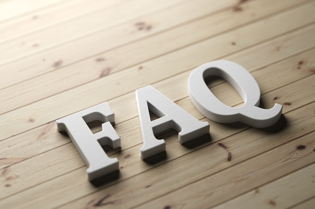 Wort-faq auf einem holzbrett mit plastikbuchstaben. 3d-rendering.