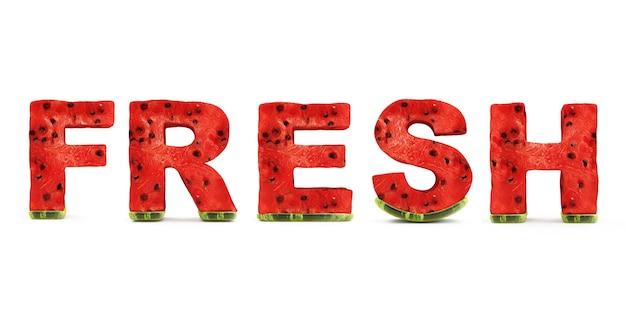 Wort frisch gemacht von wassermelonen-buchstaben lokalisiert auf weißem hintergrund