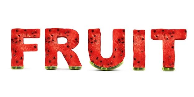 Wort-frucht gemacht von den wassermelonen-buchstaben lokalisiert auf weißem hintergrund