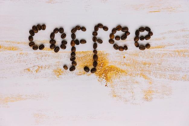 Wort kaffee besteht aus kaffeebohnen