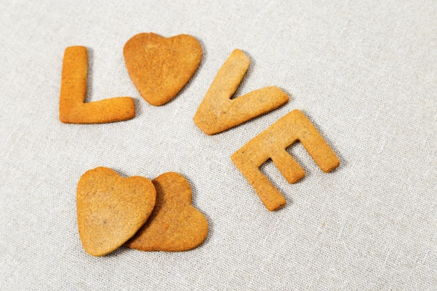 Wort liebe aus hausgemachten keksen.