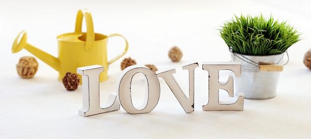 Wort liebe, gießkanne und gras auf dem tisch