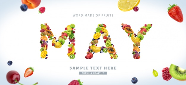 Wort mai gemacht von den verschiedenen früchten und von den beeren, fruchtguß lokalisiert auf weißem hintergrund