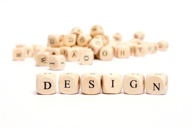 Wort mit würfeln auf weißem hintergrunddesign