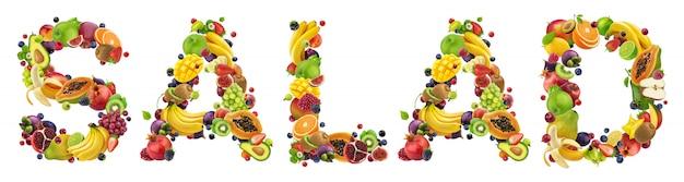 Wort salat aus verschiedenen früchten und beeren