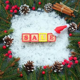 Wortfarbe aus holzwürfeln mit buchstaben auf schnee gebaut