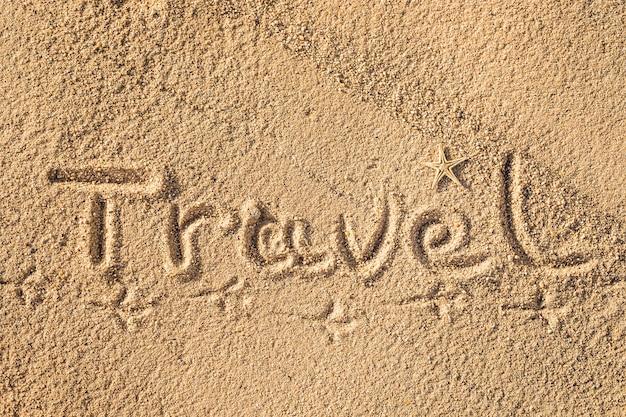 Wortreise in den sand am strand geschrieben