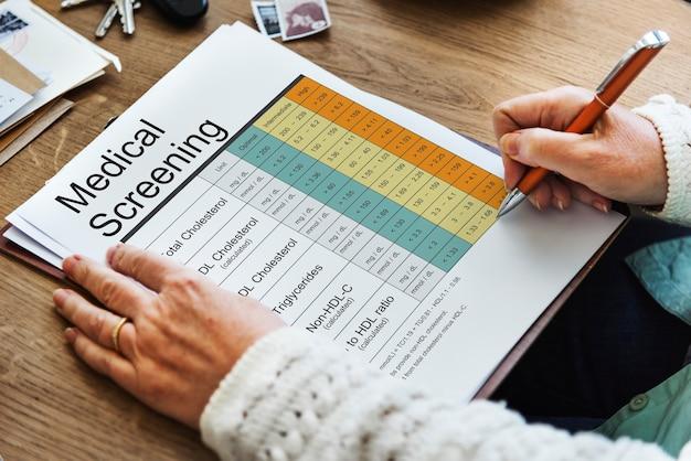 Worttabelle zur medizinischen gesundheitsanalyse