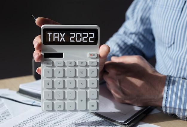 Worttext des steuerbesteuerungssystems auf dem taschenrechner
