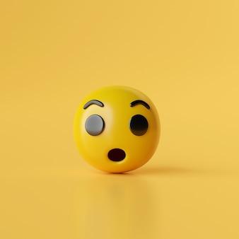 Wow emoji-symbol auf gelbem hintergrund 3d-darstellung