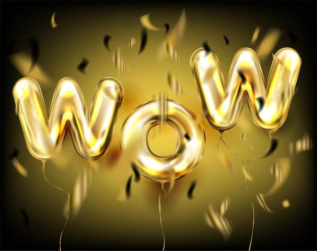 Wow schriftzug von folie goldenen luftballons in schwarzen konfetti