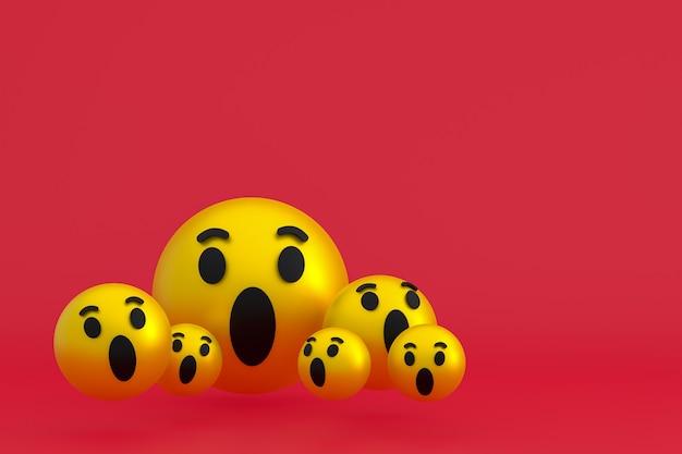 Wow-symbol facebook-reaktionen emoji 3d-rendering, social-media-ballonsymbol auf rotem hintergrund