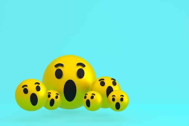 Wow-symbol facebook-reaktionen emoji 3d rendern, social-media-ballon-symbol auf blau