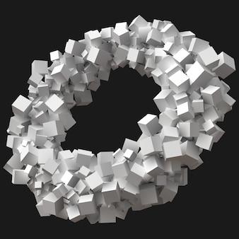 Würfel in zufälliger größe drehen sich in einer kreisförmigen umlaufbahn