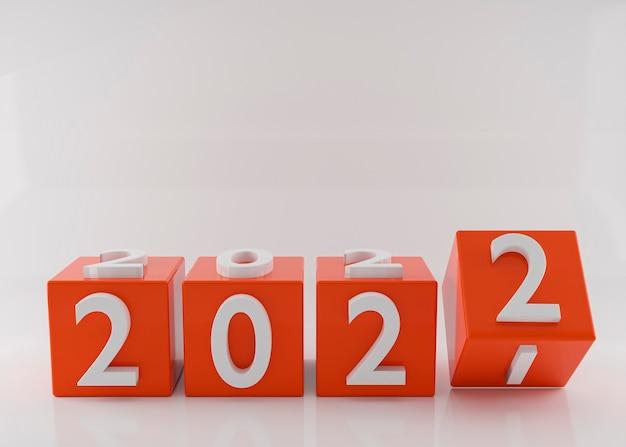 Würfel mit dem neuen jahr 2022.