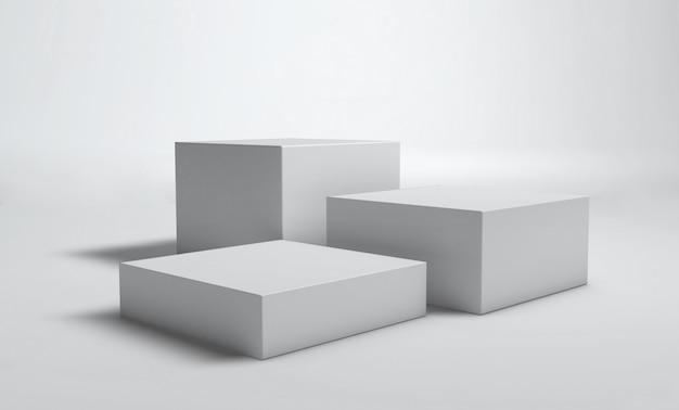 Würfel podium weiße wand