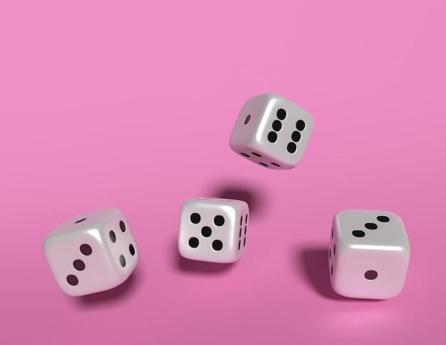 Würfel würfelt wiedergabe 3d auf rosa hintergrund.