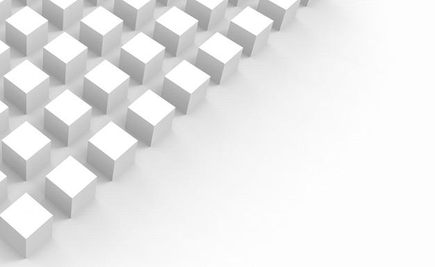 Würfelkästen des weißen quadrats stapeln auf grauem kopienraumhintergrund.