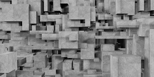 Würfelzusammensetzung polygon abstrakter architektonischer hintergrund abstrakte geometrie der konkreten 3d-darstellung