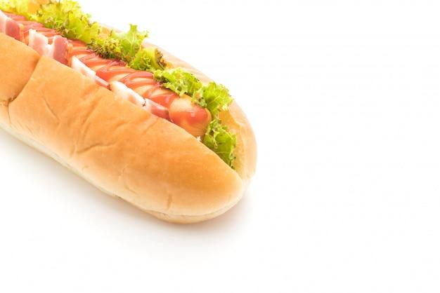 Würstchen-hotdog mit ketchup