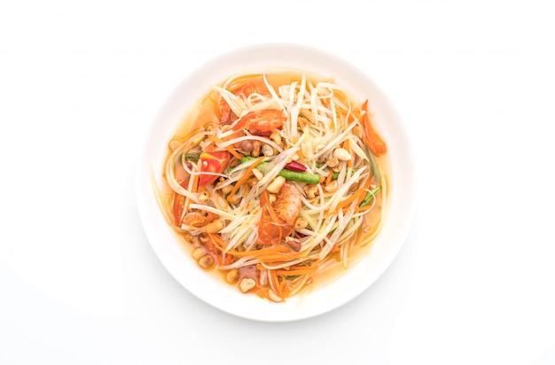 Würziger papayasalat (traditionelles thailändisches essen)