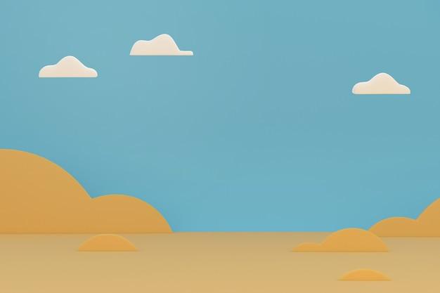 Wüstenkarikaturszene mit weißer wolke und blauem himmel