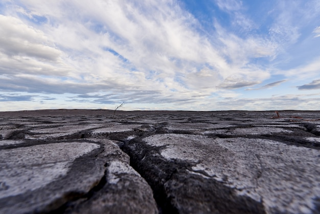 Wüstenlandschaft. blauer himmel mit wolken über einer wüste mit einem toten baum. konzept der globalen erwärmung.