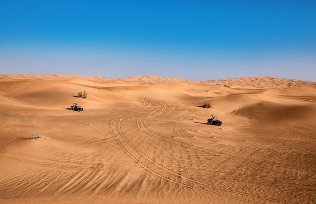 Wüstenlandschaft dubais mit pflanzen und zwei fahrenden quad-buggy-fahrzeugen