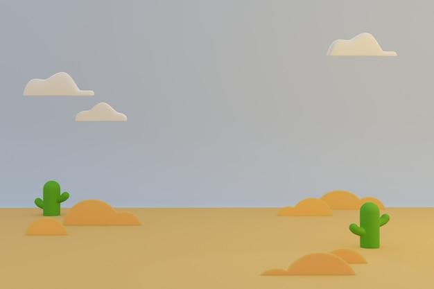 Wüstennatur-karikaturszene, braune landschaft und kaktuspflanze mit weißer wolke am himmel am sonnigen morgenmorgen.