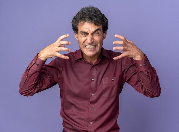 Wütender älterer mann in violettem hemd, der die arme hebt, verrückt, wütend, schreiend, über blau stehend