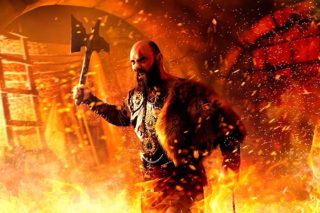 Wütender wikinger mit axt in traditioneller nordischer kleidung, die im feuer kämpft, schlacht im schloss.
