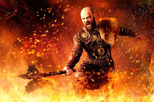Wütender wikinger mit axt in traditioneller nordischer kleidung, die im feuer steht, kampf in aktion.