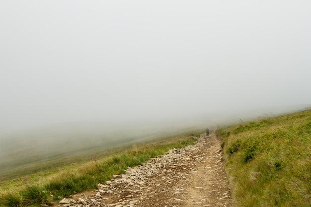 Wunderbare aussicht auf die ukrainischen karpaten im nebel.