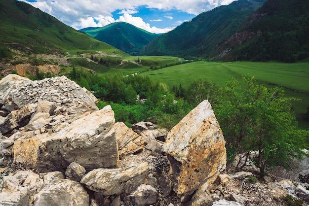 Wunderbare berge mit waldbedeckung im sonnenlicht. kopieren sie platz auf großen steinen aus der nähe.
