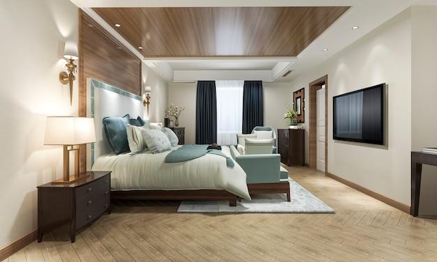 Wunderschöne klassische luxus-schlafzimmersuite im hotel mit fernseher und arbeitstisch sowie möbeln im europäischen stil