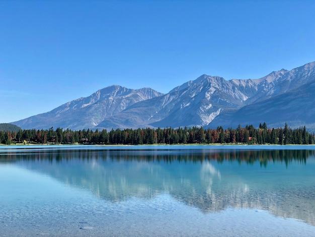 Wunderschöne landschaft aus bäumen und hohen schneebedeckten bergen, die sich im klaren see widerspiegeln