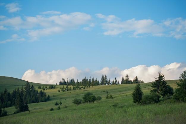 Wunderschöne naturlandschaft mit grüner wiese und bergkette. blauer himmel mit wolken