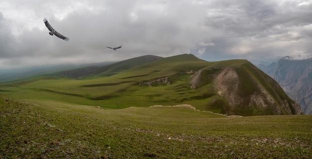 Wunderschöne panoramalandschaft auf dem verregneten hochplateau.