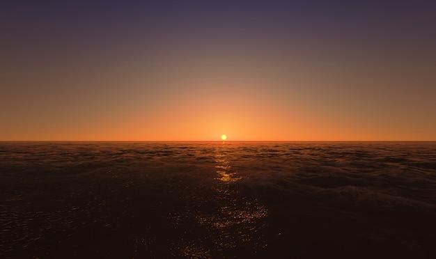 Wunderschöner sonnenuntergang über dem meer. 3d rendern