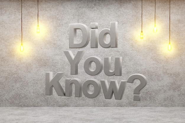 Wusstest du? auf einem loft-hintergrund 3d-rendering