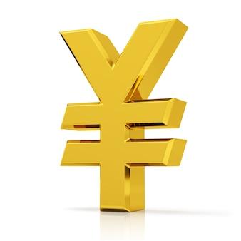 Yen-symbol lokalisiert auf weißem hintergrund