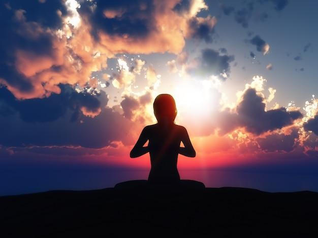 Yoga-silhouette mit einem sonnenuntergang im hintergrund