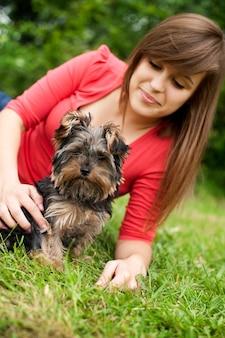 Yorkshire terrier welpe mit junger frau