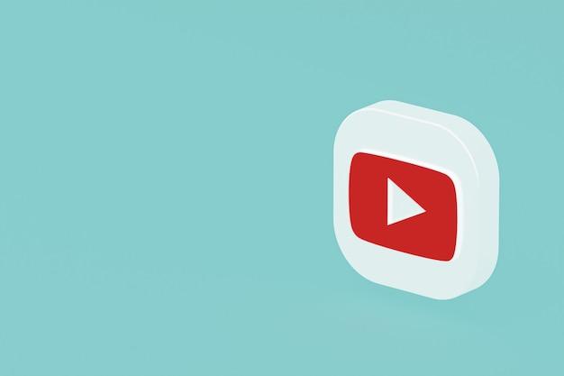 Youtube-anwendungslogo 3d-rendering auf blauem hintergrund