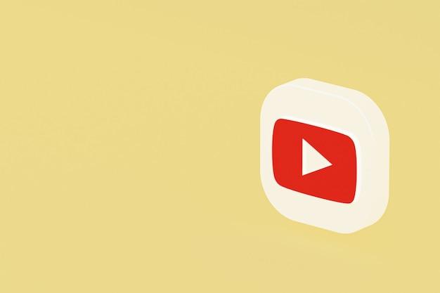 Youtube-anwendungslogo 3d-rendering auf gelbem hintergrund