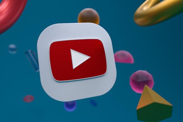 Youtube-logo auf abstraktem geometriehintergrund