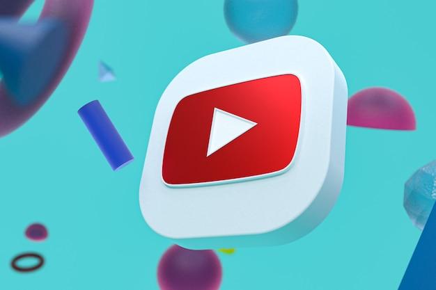 Youtube-logo auf abstraktem geometrischem hintergrund