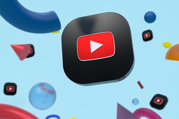 Youtube-logo auf abstrakter geometrie
