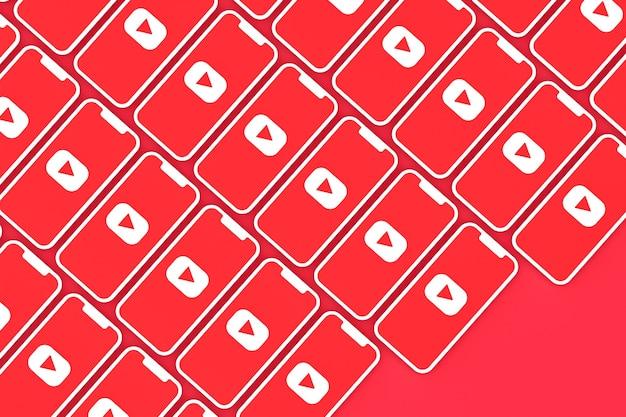 Youtube-logo auf dem bildschirm smartphone oder handy 3d rendern