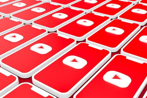 Youtube logo hintergrund auf dem bildschirm smartphone oder handy 3d rendern